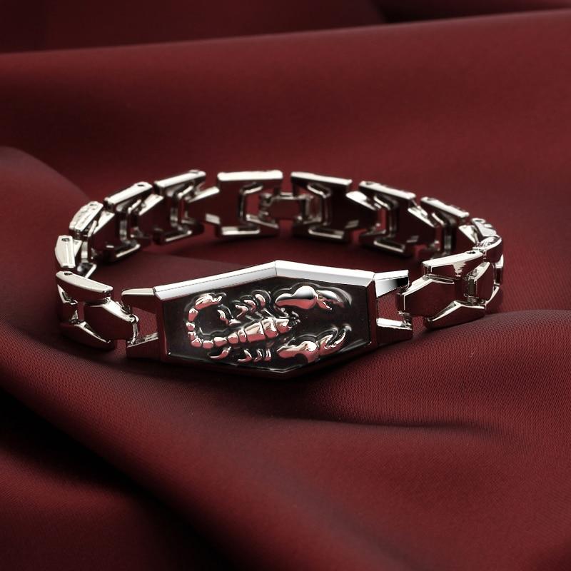 Браслеты из нержавеющей стали, мужские шармы с скорпионом, мужские браслеты в стиле панк, мужские браслеты, браслеты