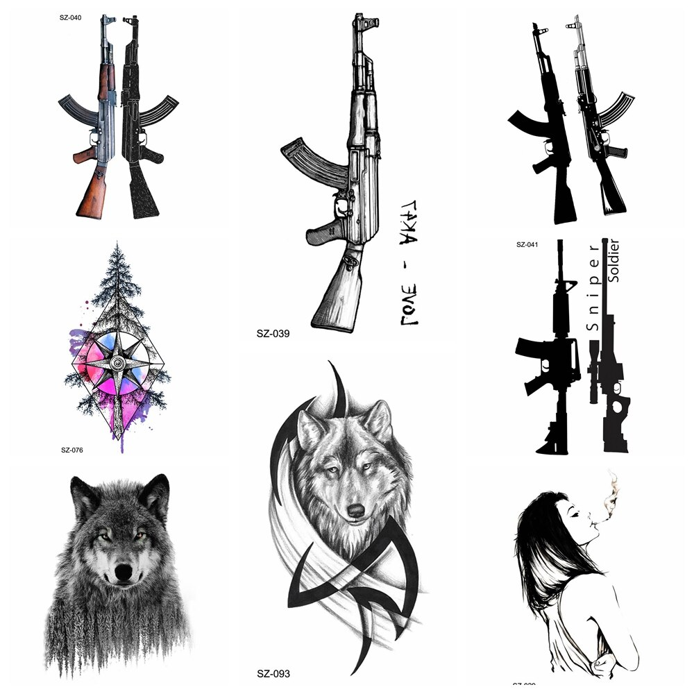 Negro AK Gun tatuaje temporal hombres BATTLEGROUNDS PUBG falso tatuajes a prueba de agua mujeres triángulo tatuaje para brazo Sniper AKM AK47 M416 arma