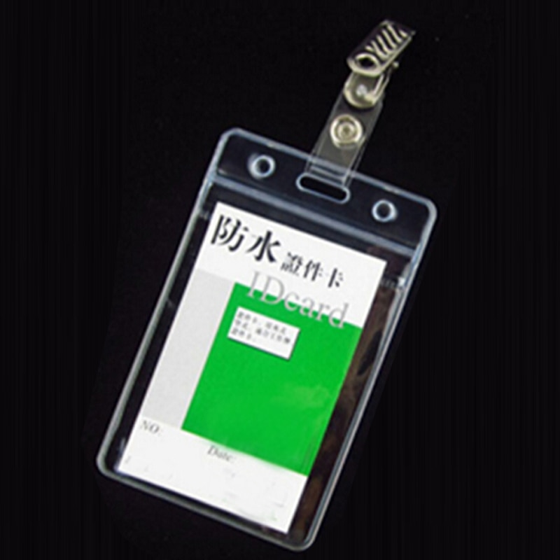 20Pcs Waterproof Soft Plastic Vertical Style Name Badge ID Card Holders With Clip Exhibition Office School Stationery Papelaria