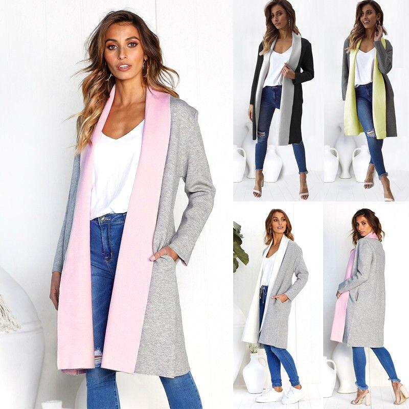 Jersey de solapa para mujer de talla grande 2018 cárdigan holgado abrigo de plumero para mujer imitación de algodón ropa de abrigo de manga larga