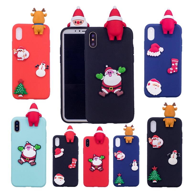 S7 S6 edge S8 S9 Plus funda de silicona 3D dibujos animados de Navidad lindo Gel suave fundas de teléfono para iphone X XR XS Max 8 Plus 6 6S 7 5S