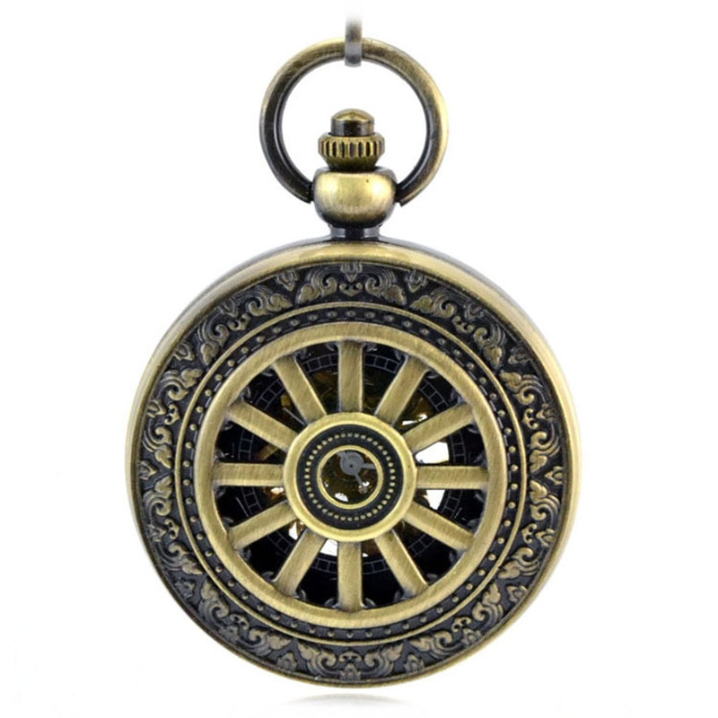Reloj de bolsillo mecánico automático Retro de bronce con Cruz Roja antigua llave hueca cadena Reloj colgante Reloj de pulsera