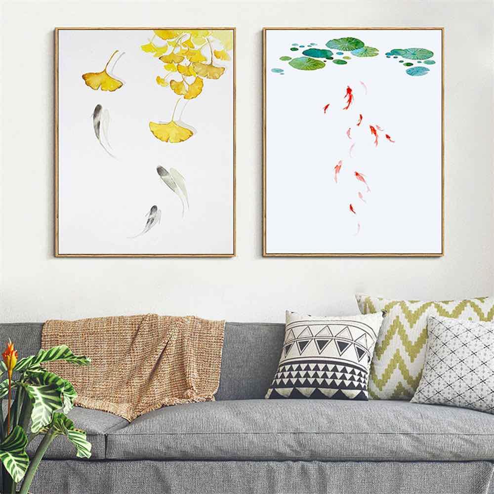 HAOCHU, pez dorado, lienzo, pintura de hoja de loto para sala de estar, decoración del hogar, pintura, impresiones artísticas para colgar en pared, imagen de pared nórdica Simple