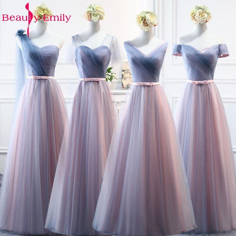 Beauty-Emily Sexy cuello pico de tul largo vestidos de dama de honor para la fiesta de boda 2020 Vestido de Fiesta de invitados de boda Vestido de fiesta largo