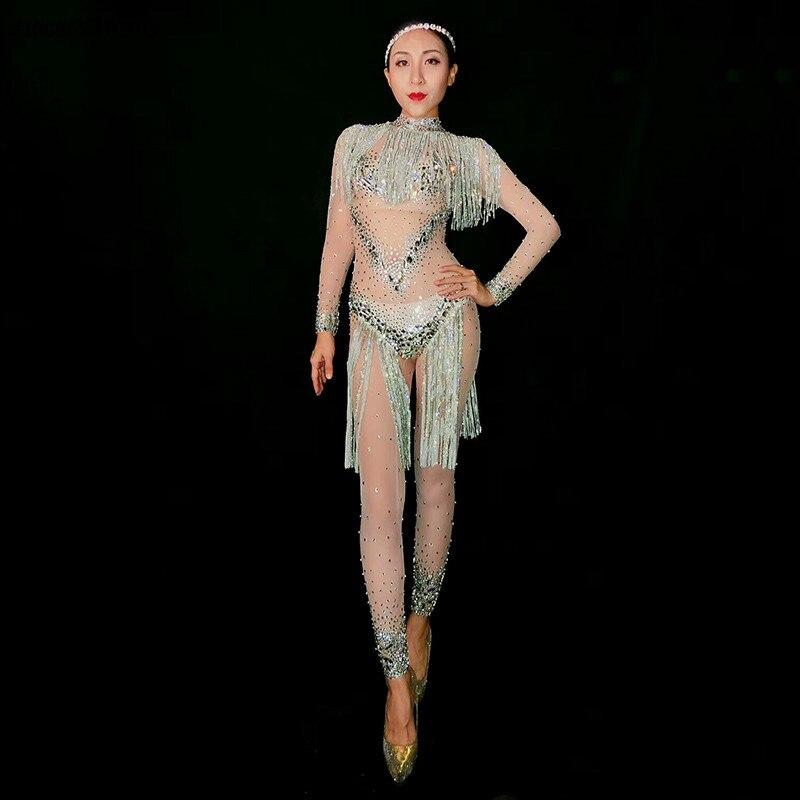 Strass bodysuit tassel malha traje de cristal macacão sexy estiramento collant rompers brilhando pedra palco usar espumante diamante