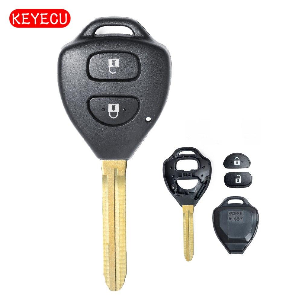 Funda con 2 botones para Toyota Avensis avelon Camry Corolla Echo Hilux Prado Tarago yaris-toy43