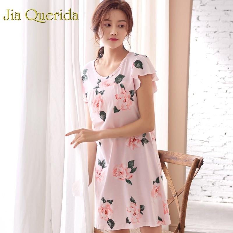 J & Q Pj vestido de dormir mujeres 2019 verano nuevo Rosa 100% algodón Nighty para las señoras ropa de noche camisón Floral plus tamaño camisón