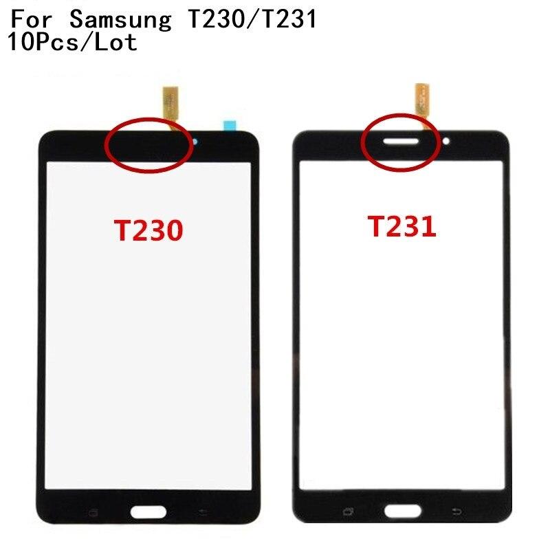 10 unids/lote 100% prueba para Samsung Galaxy Tab 4 SM-T230 T230 SM-T231 T231 pantalla táctil frontal Cristal de panel digitalizador Sensor + número de seguimiento