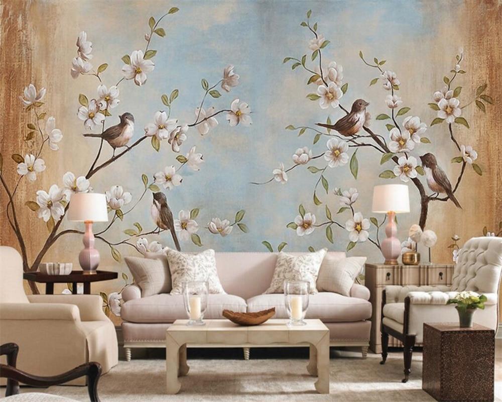 Papel tapiz para habitación Beibehang en 3d personalizable de cualquier tamaño, papel tapiz moderno con diseño de flor, pájaro, melocotón, pintura, Mural, papel tapiz para paredes en 3d
