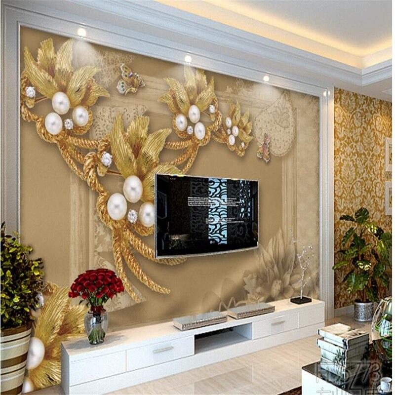 Beibehang, grandes papeles de pared personalizados, joyería de lujo, estéreo, flores, sala de estar, sofá, TV, paredes, papel de pared para cuarto