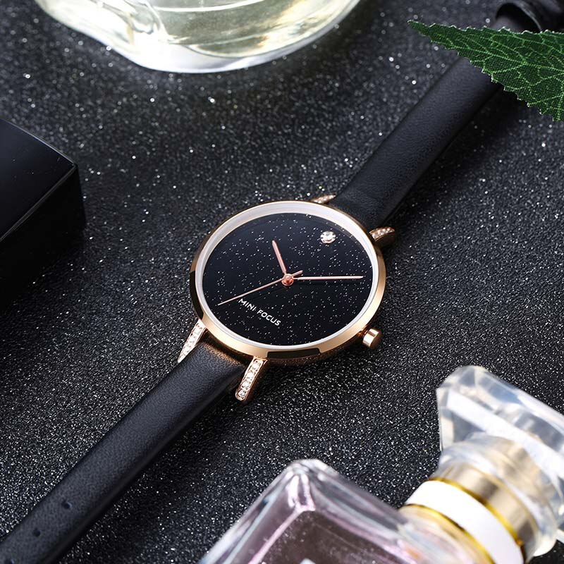 MINI FOCUS Diamonds Blue Leather Women Watches Ladies Brand Luxury Female Quartz Watch Women Wristwatch Girl Clock Montre Femme