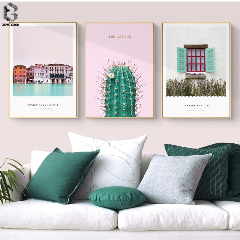 Милый городок Скандинавская Картина на холсте настенные художественные плакаты и принты пейзаж настенная картина для гостиной Розовый дек...
