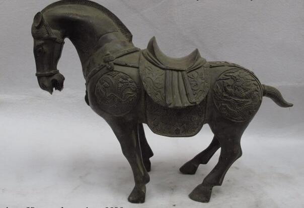 song voge gem S0783 Chinese Folk Bronze copper Dragon phoenix Lucky horse fengshui figurine Statue