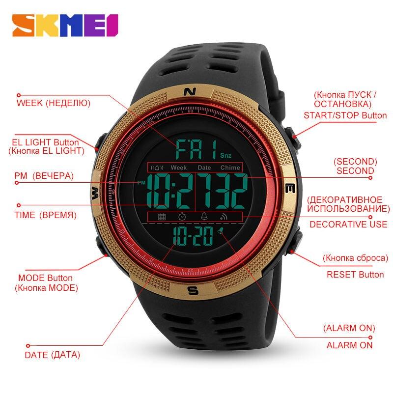 SKMEI Men Watches Sports Countdown Double Time Watch Alarm Chrono Digital Wristwatches Man Clock Waterproof Relogio Masculino