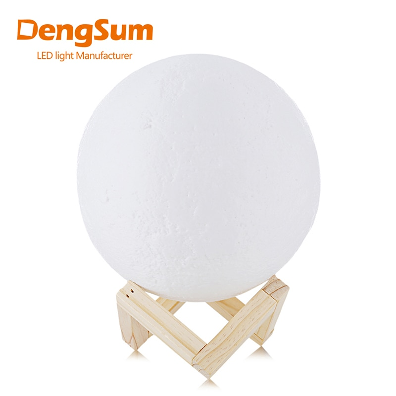 [DENGSUM]Rechargeable 3D Print Moon Lamp 2 Color Change Touch Switch Bedroom Bookcase Night Light Home Decor Creative Gift