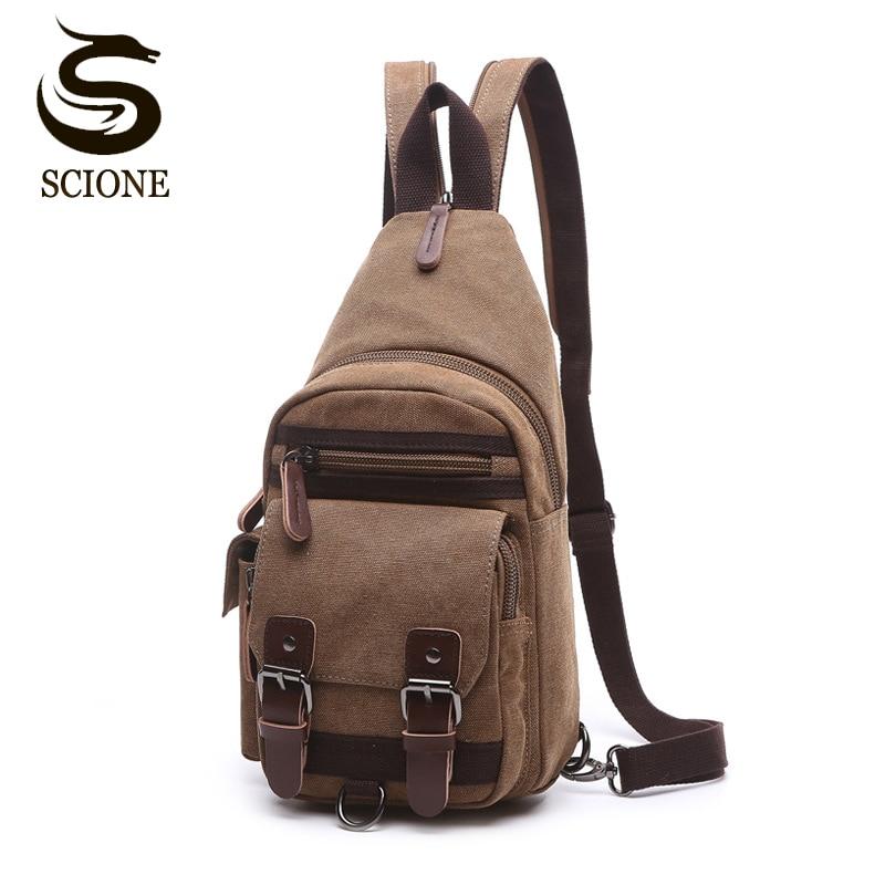 Холщовая нагрудная сумка, Винтажный Мужской рюкзак, сумки через плечо, Женский/мужской дорожный рюкзак, многофункциональные маленькие сумки, мужская сумка