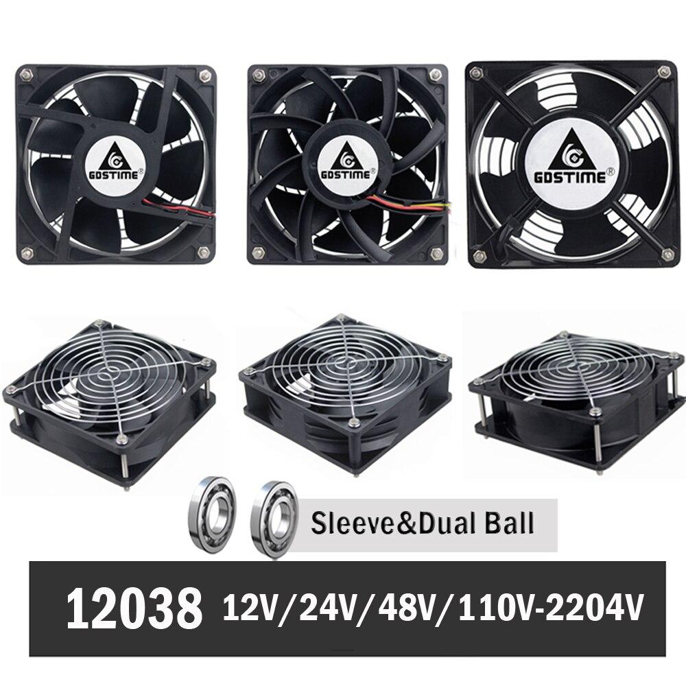 Gdstime 120mm 12CM 12038 Cooling Fan x 38mm Computer Case 12V 24V 48V 110V 115V 220V 240V Ball Cooler