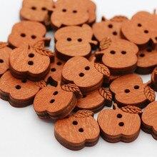 100 Pcs 애플 모양 나무 단추 2 구멍 Scrapbooking 공예에 대 한 나무 단추 의류 장식 바느질 Scrapbooking 홈 15mm