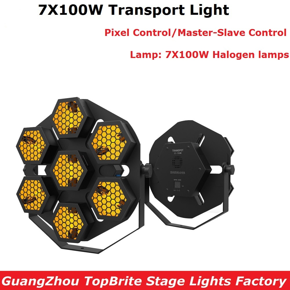 100% nueva luz de transporte de alta calidad 7X100W lámpara halógena etapa Retro luces de Flash Pixel Control profesional luces de Fiesta de DJ