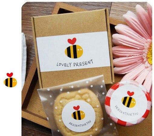 Envío Gratis hermoso regalo bolsa de dulces decorativos miel abeja frasco de postre pegatina decorativa pegatinas regalos paquete Decoración