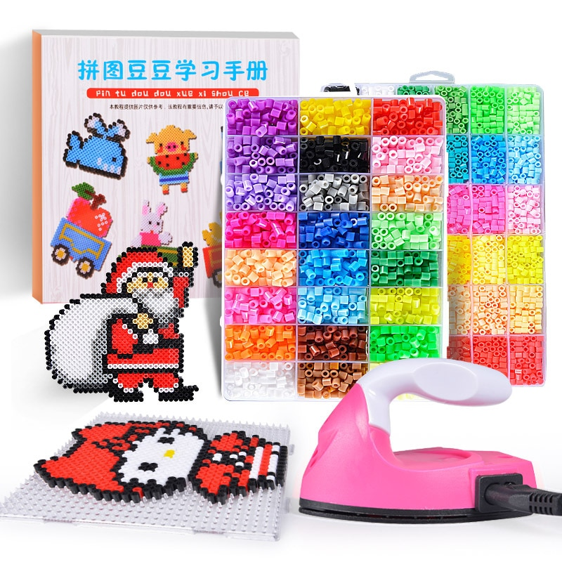 3000pcs bag water stick diy magic beads ball aqua jouets perler pegboard hama pixels magic beads jigsaw puzzle educational toy Perler Beads Kit 5mm/2.6mm Hama beads Whole Set with Pegboard and Iron 3D Puzzle DIY Toy Kids Creative Handmade Craft Toy Gift