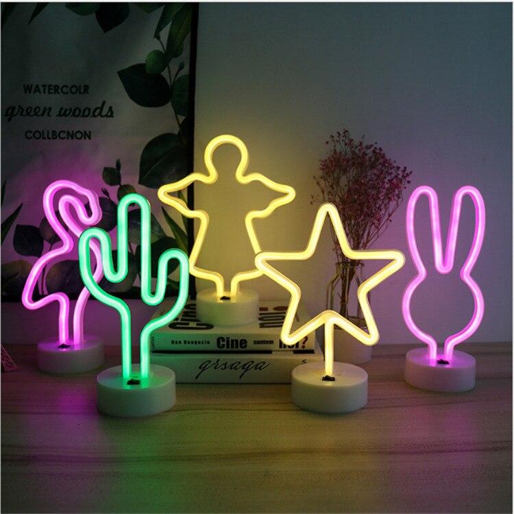 LED Night Lamp Flamingo Party Christmas Tree Bedrom Night Light Unicorn Anniversary Birthday Party Decorations Kids SD48