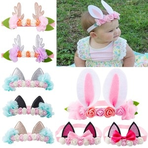 1PCS Rabbit Cat Ear Deer Antler Flowers Bow Headband Elastic Girls Birthday Party Festival Child Photography Lovely Hairband