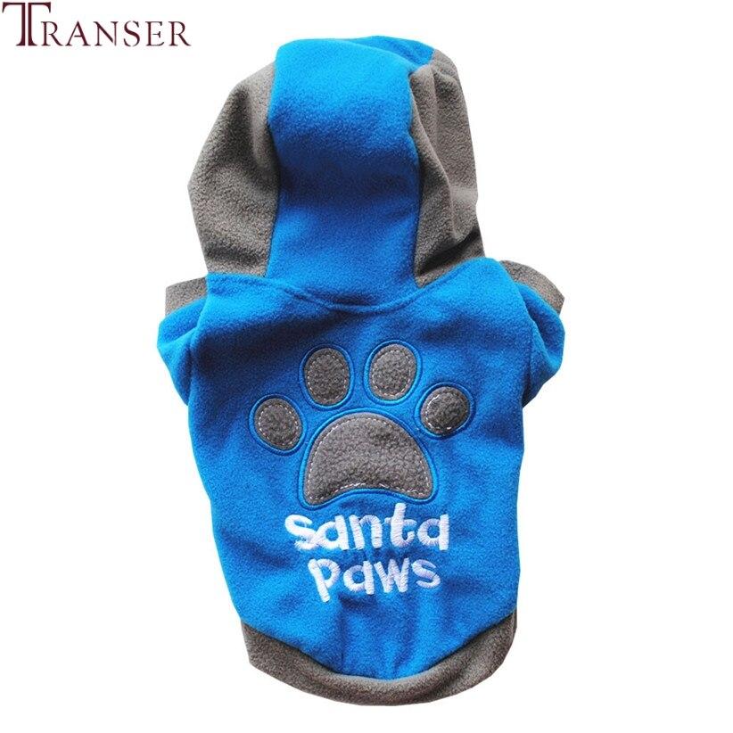 Transer Pet Dog Clothes Santa Paws Dog Hoodies Sweatshirt Winter Warm Jacket Coat Puppy Clothing 71101
