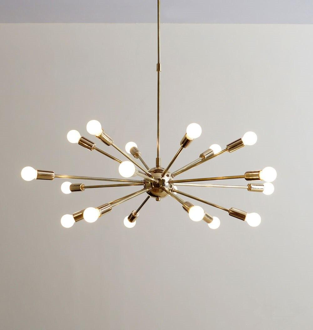 Mi siècle laiton spoutnik lustre 18 bras moderne suspension lampe suspendue pour salon décor à la maison salle à manger gratuit