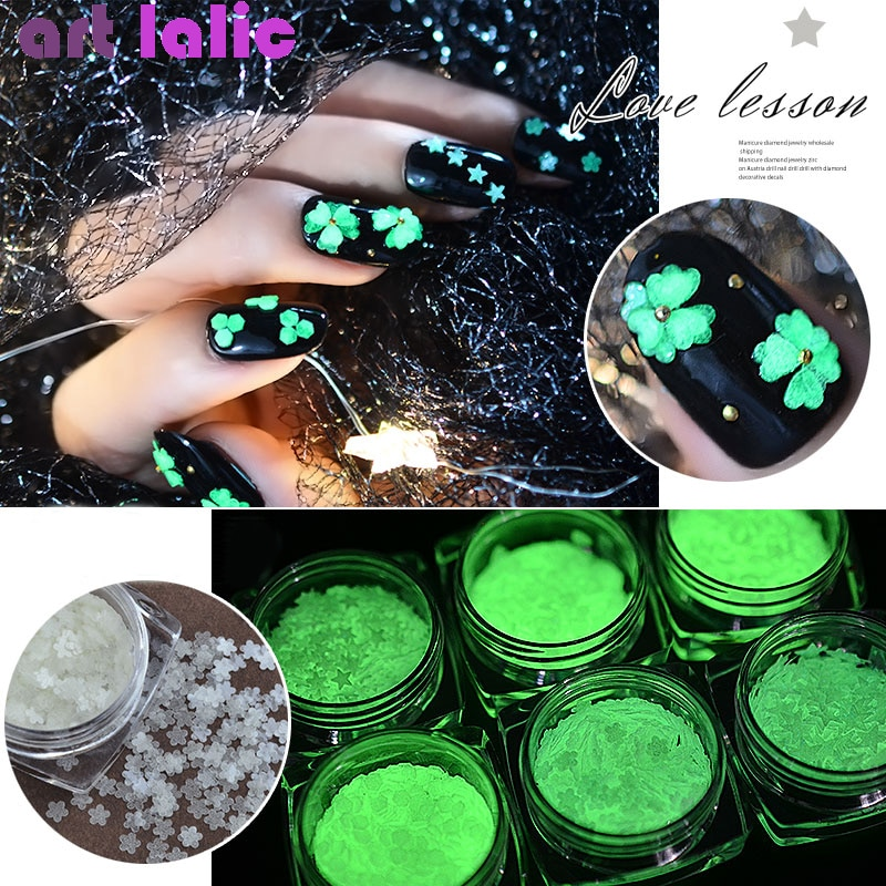 1g/Box Fluorescent Luminous Nail Art Sequins Heart Star Round 1.5mm 3mm Ultra-thin Nail Glitter Flakes Powder Glow in the Dark