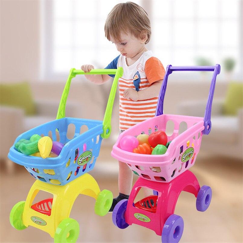 Enfants supermarché Shopping épicerie chariot chariot jouets pour filles cuisine jouer maison Simulation Fruits semblant bébé jouets