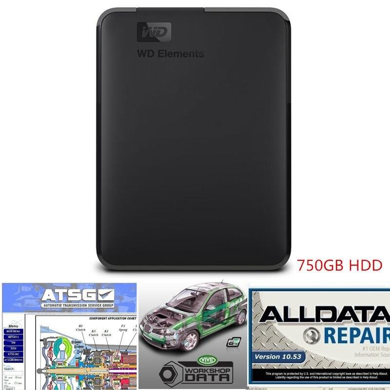 2019 Alldata Software de reparación de automóviles todos los datos v10.53 atsg taller vivo con soporte tecnológico para coches y camiones USB 3,0