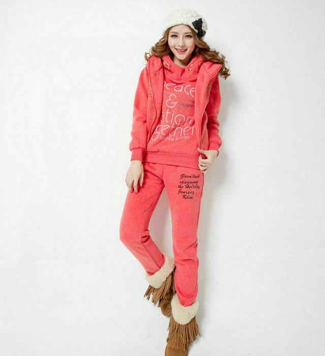 Thick Winter 3 Piece Set Warm Suit Women Sportswear Costume & Hoodie Vest Pants & Casual Clothing Set Size M - XXL 5 Colors