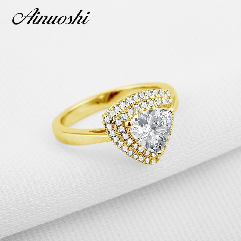AINUOSHI de lujo corte trillion halo doble anillo 14K amarillo oro boda Sona simulado Anillo de compromiso de diamante para la joyería de las mujeres
