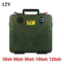 Army green custodia impermeabile 12V 30Ah 60Ah 80Ah 100Ah 120Ah batteria al litio pack per Esterno portatile di potere di alimentazione + caricatore