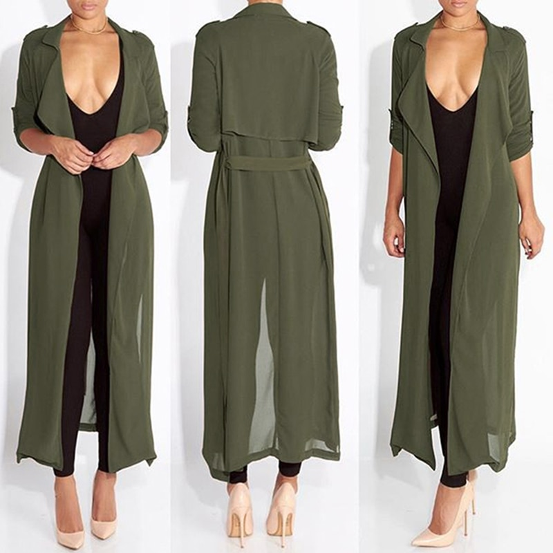 Summer Women Chiffon Cardigan Long Sleeve Sexy See-Through Ladies Lapel Long Jacket Blouse Shirt Beach Cover Up Femme Outerwear