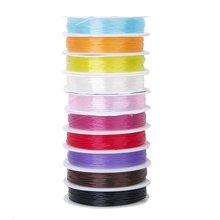 MEOF 10 Rollen Mischfarbe Kristall elastyczny pasek na szyję ze stali nierdzewnej 0,6mm DIY Schmuckherstellung