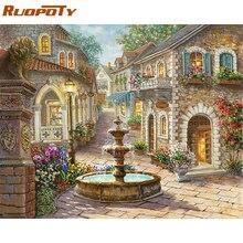 RUOPOTY-fontaine peinture paysage   Kits de peinture principale par numéros, tableau acrylique, Art mural moderne, toile peinte à la main, peinture à lhuile 40x50