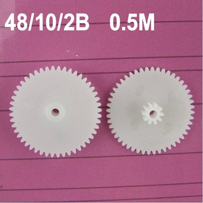 حار بيع (100 قطعة/الوحدة) 0.5M 48102B طبقة مزدوجة والعتاد 48t 10t-2a البلاستيك والعتاد النايلون كبير والعتاد عجلات (تقبل التجزئة)