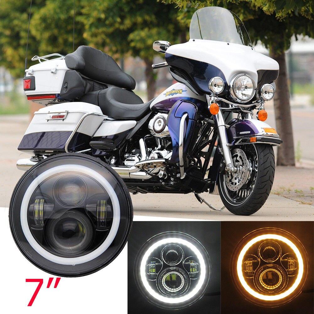 Nuevo proyector de motocicleta redondo de 7 pulgadas, faro delantero LED de 7 pulgadas con Halo, DRL y luz de giro para Harley Davidson Street Glide
