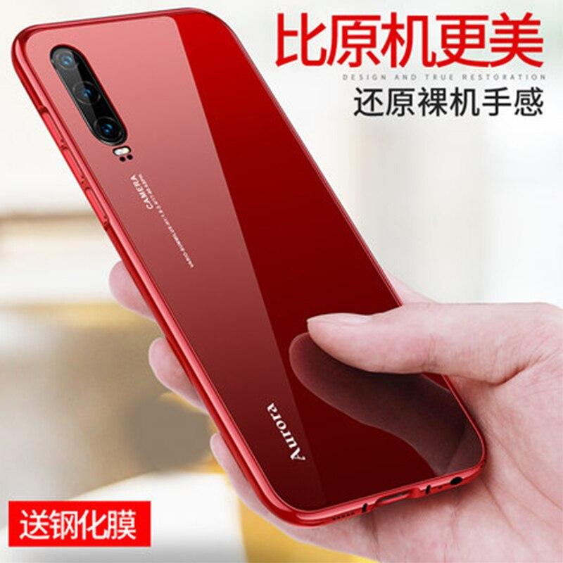 Funda trasera de vidrio templado para Huawei P30 Marco de parachoques de Metal para Huawei P30 Pro Funda accesorios de piel para teléfono Carcasa protectora