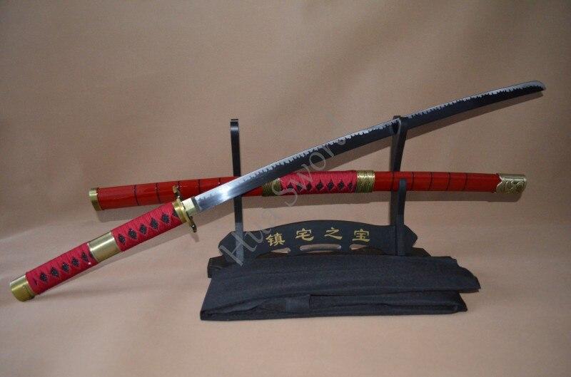 Envío gratis de Cosplay de One Piece de 41 pulgadas, espada de Zoro Sandai Kitestu Katana de acero, espada roja original para Navidad