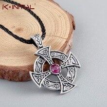 Kinitial Viking Necklace Pewter Solar Cross Celtic Druid Pagan Irish Pendant on Leather Necklace Men Jewelry Bijoux Femme