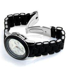 Luxury Brand Unisex Analog Quartz Round Watch Japan Miyota Movement Black Soft Silicone Strap Silver Dial