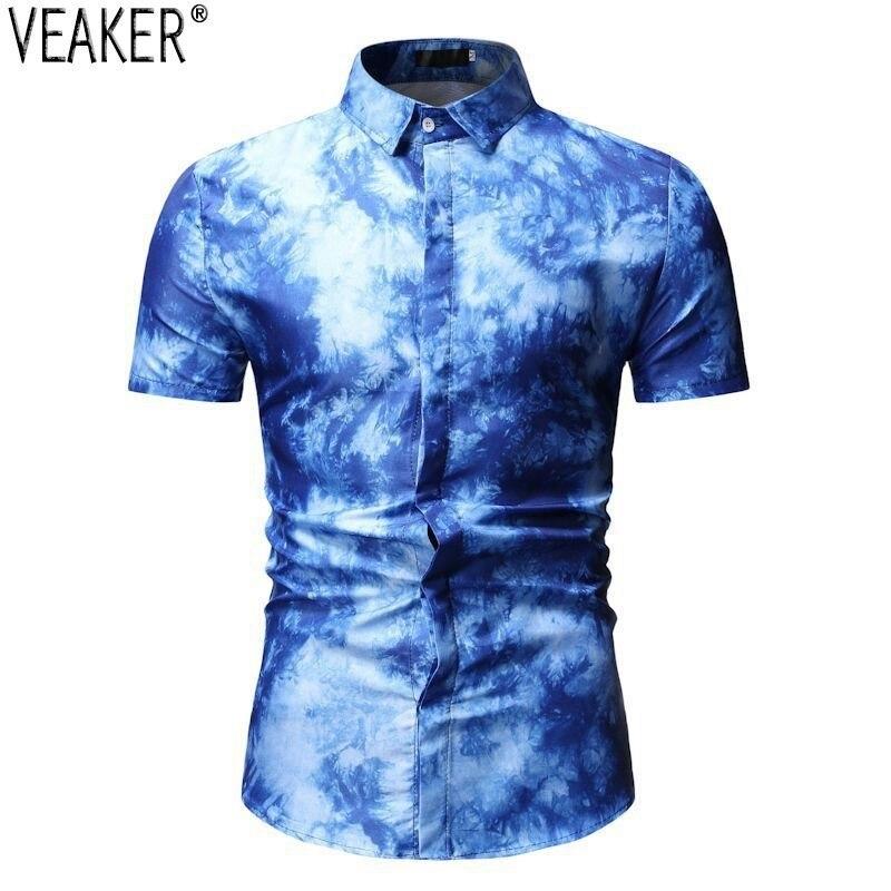 2019 neue Männer der 3D Gedruckt Shirts Männlichen Sommer Slim fit Casual Business Hemd Männlich Rot Blau Kurzarm Drucken hemd Tops M-3XL