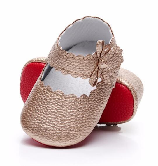 HONGTEYA Neue stil Baby Mädchen weiche Rote sohle Ballett Kleid Schuhe PU leder Mary Jane Sidebow Kleinkind Mokassins für 0-18M