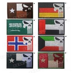 Crânio punisher bandeira nacional bordado remendos 8cm diy acessório hoop e loop texas alemanha noruega u.a.e arábia saudita kuwait