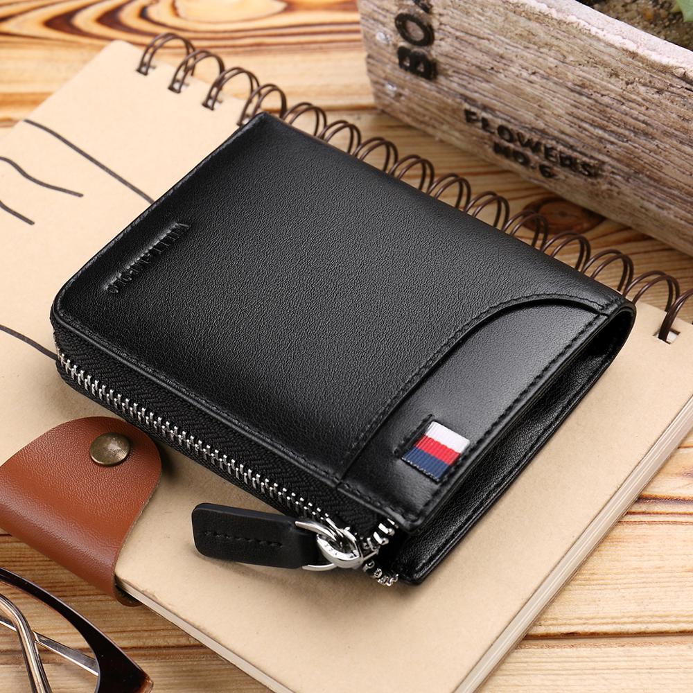 Monederos Mini para hombre de negocios, monedero de mano de cuero auténtico para hombre y mujer, monedero de alta calidad con cremallera