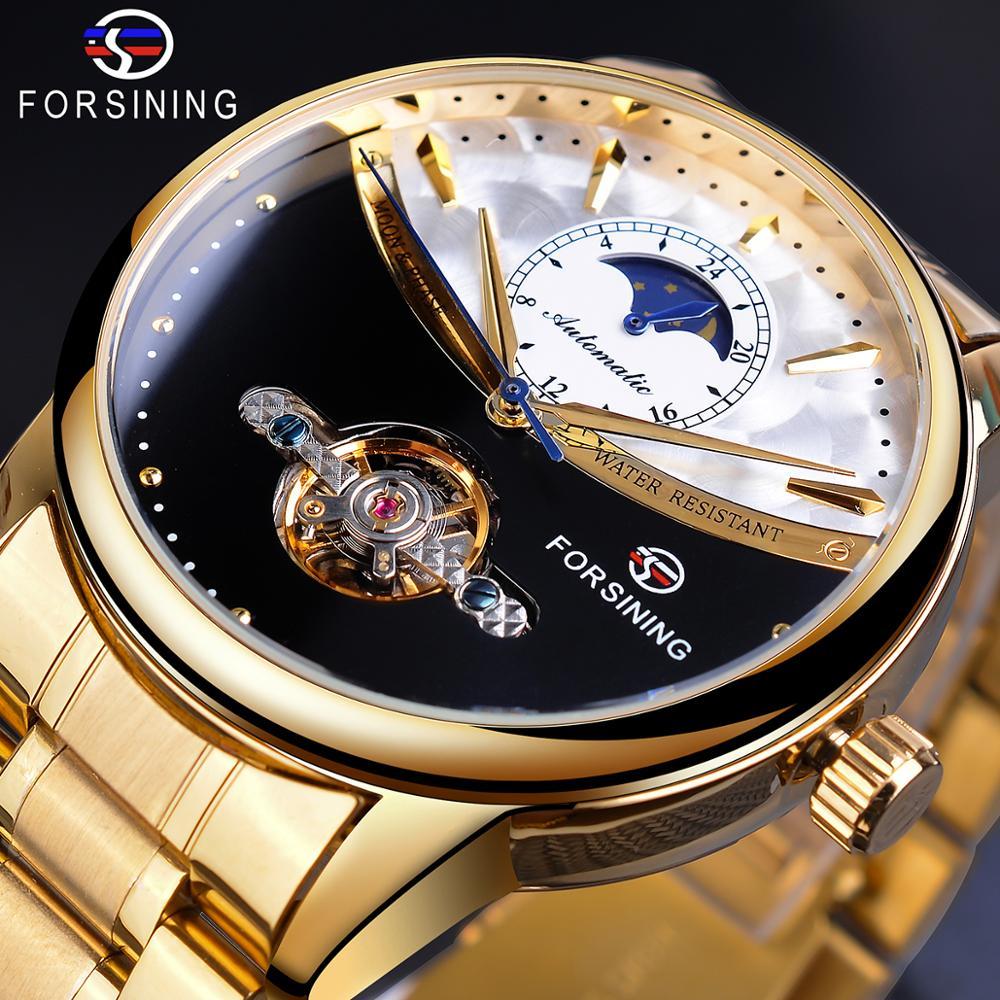 Forsining 2019 hombres reloj de pulsera automático dorado real sol Luna-viento esqueleto de acero inoxidable banda mecánico reloj