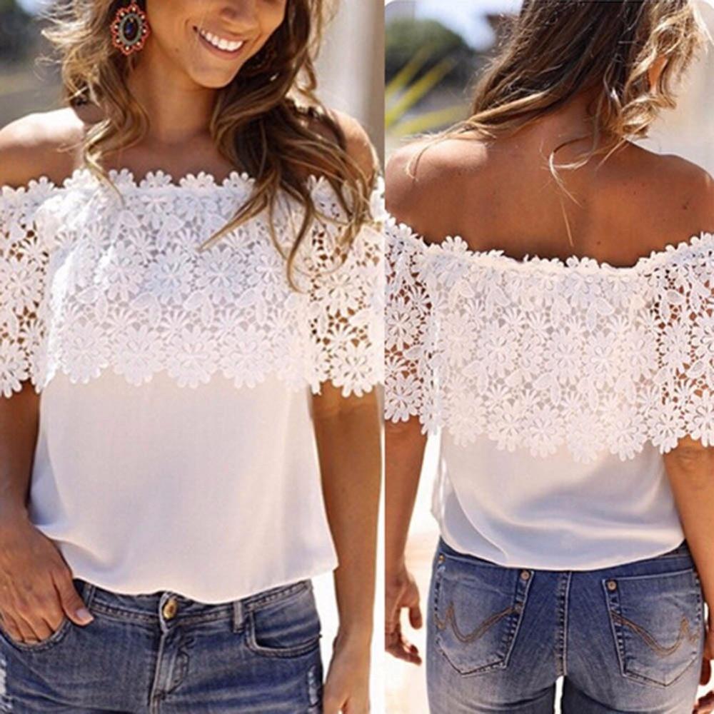 Las mujeres calientes Blusa de gasa remiendo blanco encaje Floral fuera del hombro Casual suelta femenina Tops